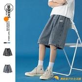 日系復古牛仔短褲男夏季薄款直筒寬松褲子潮牌ins大碼休閑五分褲【勇敢者】