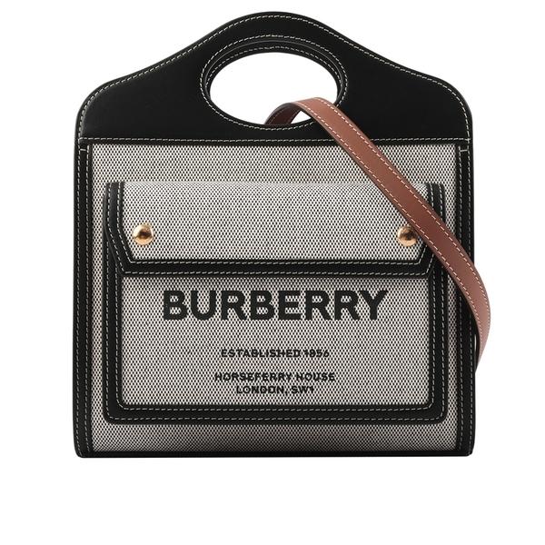 【BURBERRY】帆布拼皮革三色手提/斜背口袋包(Mini)(黑色/焦糖) 8032437
