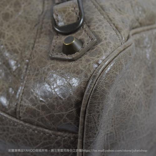 茱麗葉精品 二手精品 【9成新】BALENCIAGA 巴黎世家 235216 VELO小羊皮兩用機車包.灰褐 色號2525