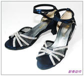 節奏皮件~國標舞鞋拉丁鞋款舞鞋編號4154 深藍亮