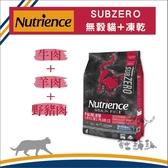 Nutrience紐崔斯〔SUBZERO無穀貓+凍乾,牛肉+羊肉+野豬,2.27kg〕 產地:加拿大