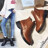 短靴 歐美秋冬新款女圓頭馬丁靴平底松緊粗跟厚底靴