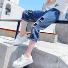 女童七分破洞牛仔褲夏季2021新款兒童褲子中大童薄款寬鬆闊腿洋氣 一米陽光