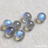 DIY水晶材料 天然灰藍月光石散珠拉長石半成品圓珠diy配飾月光石手鏈 顆顆藍光 米蘭shoe