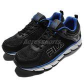 【六折特賣】Fila 慢跑鞋 J972Q 黑 藍 白底 輕量透氣 運動鞋 男鞋 【PUMP306】 1J972Q030