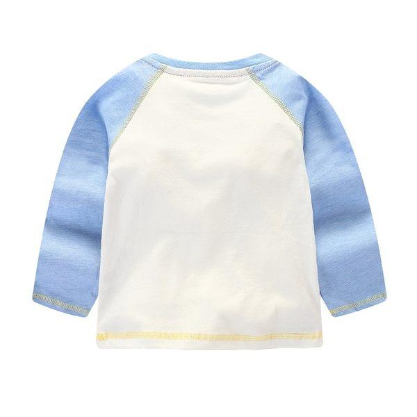 男Baby男童長袖T恤有肩釦可愛大汽車白底藍色接袖純棉上衣現貨 出口歐美品質