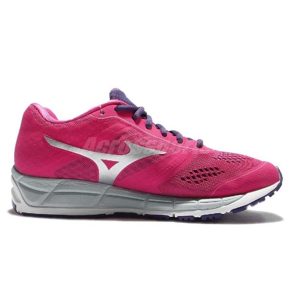 Mizuno 慢跑鞋 Synchro MX 慢跑 馬拉松 基本款 紫 銀 女鞋 運動鞋【ACS】 J1GF161904