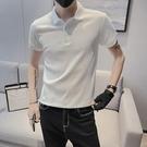 夏季男士輕奢短袖t恤潮牌韓版修身2021新款冰絲翻領POLO衫上衣服 黛尼時尚精品