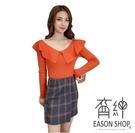EASON SHOP(GU8984)實拍韓版純色荷葉邊一字領圓領長袖針織衫女上衣服彈力貼身內搭衫短版修身顯瘦