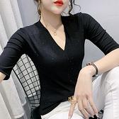 性感短t~百搭洋氣小衫時尚燙鉆短袖T恤女上衣v領打底衫滿鉆tH329日韓屋