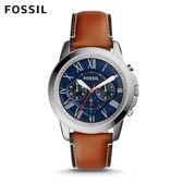 FOSSIL Grant 淺棕色藍色錶面皮革計時手錶 男 FS5210