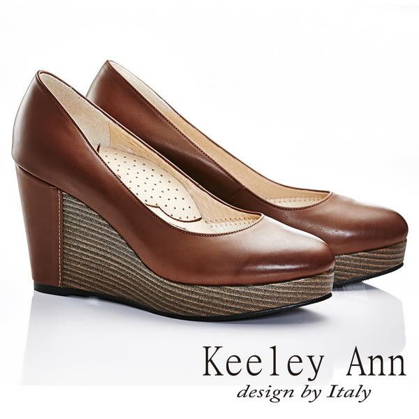 ★零碼出清★ Keeley Ann 質感素面~全真皮好感簡單圓頭厚底楔型鞋(咖啡色)