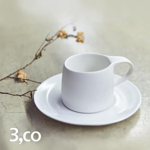 【3,co】卡布奇諾杯碟組(2件式) - 白