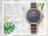 【時間道】NATURALLY JOJO  典雅簡約半陶瓷腕錶 / 黑貝面珠框鑽刻玫瑰金黑陶(JO96924-88R)免運費