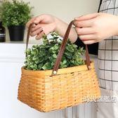 (交換禮物)野餐籃手工編織木片籃 野餐籃田園手提雞蛋購物籃子儲物筐 水果果蔬籃子XW