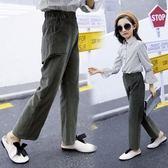 女大童秋季褲子女童燈芯絨褲子小女孩闊腿褲時尚直筒褲潮-小精靈生活館