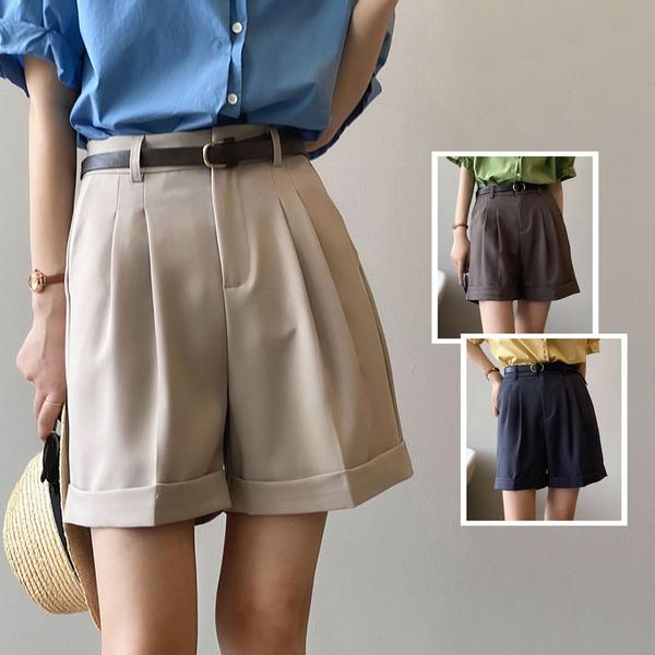 *ORead*韓版寬鬆顯瘦薄款闊腿褲短褲(3色M,L)