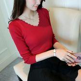 2018春季新款女裝V領彈力針織套頭打底衫顯瘦修身長袖毛衣上衣潮