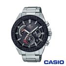CASIO卡西歐 小格紋重金屬太陽能時計男腕錶-黑x48mm EQS-910D-1A