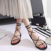 夏季羅馬平底涼鞋女交叉綁帶平跟系帶時尚 KB1655【每日三C】