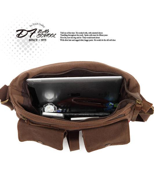 DF BAGSCHOOL - 復古雙口袋百搭款帆布側背包
