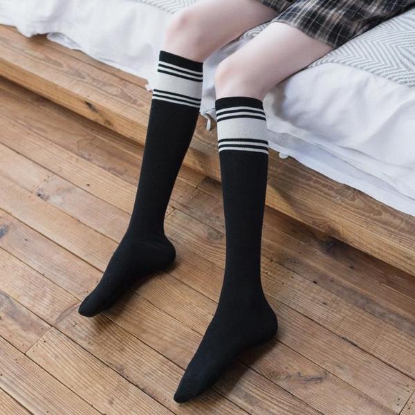 白色小腿襪長筒襪子女潮ins韓國夏季百搭薄款日系條紋半筒及膝襪