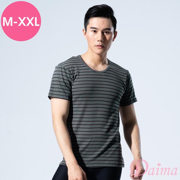 男士 降溫涼感MIT竹炭條紋衫極致型男排汗短袖 上衣  M~XXL(灰色)【Daima黛瑪】