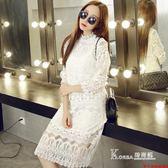 大碼白色長袖加絨蕾絲洋裝中長款修身顯瘦打底裙長裙潮〖Korea時尚記〗