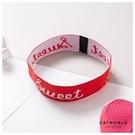 Catworld 活力紅文字運動髮帶【18003515】‧F