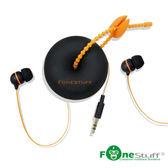 《Fonestuff》FS-6002收線式耳塞耳機-黑色橘線