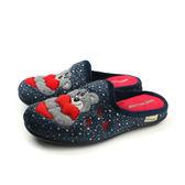 Grünland  懶人鞋 休閒鞋 熊寶寶 冬季 絨毛 藍色 女鞋 CI2204 no003