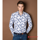 男士長袖襯衫 夢特嬌 時尚藍葉風格款