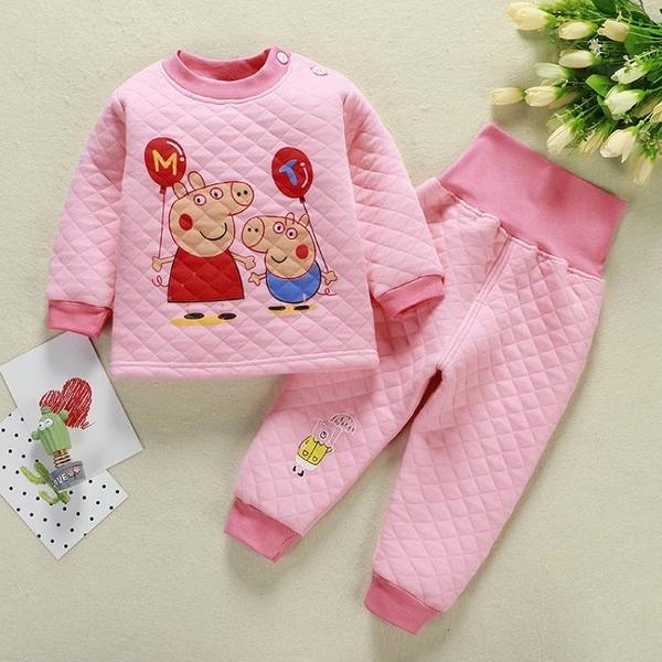 嬰兒衣服連體衣 秋冬季嬰兒衣服分體套裝6-9月1歲2男女寶寶加厚保暖內衣夾棉睡衣 優拓