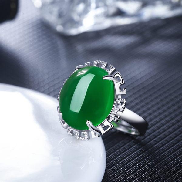 925戒指女日韓時尚紅剛玉綠瑪瑙寶石開口戒指鏤空花朵指環防過敏【快速出貨八折搶購】