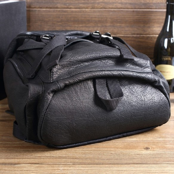 【Solomon 原創設計皮件】真皮後背包 多功能旅行包 拉鍊開口雙邊側袋大容量 中性背包
