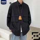 大碼長袖襯衫男士秋季寬鬆潮流休閒襯衣外套【左岸男裝】