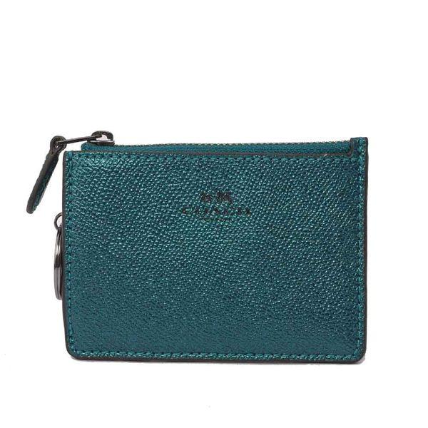 【COACH】拉鏈KEY/証件/零錢包(金屬綠)F21072 QBMP2