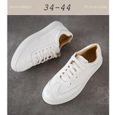 大尺碼女鞋小尺碼女鞋韓版綁帶小白鞋真皮超軟厚底休閒鞋運動鞋樂福鞋懶人鞋(34-44)