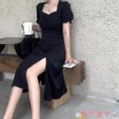 短袖洋裝 裙子女新款韓版收腰氣質顯瘦復古碎花法式方領開叉短袖連身裙 愛丫 免運