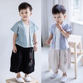 漢服男童2018夏裝童裝男寶寶假兩件襯衫