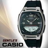 CASIO 卡西歐手錶專賣店 AW-81-1A1  男錶 雙顯錶 橡膠錶帶 黑 LED照明 防水 50米 計時 鬧鈴 10年電力