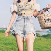 【首爾】淺色爛破洞牛仔短褲女夏新款chic高腰闊腿寬鬆ins超短熱褲潮