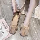 半拖鞋 文藝蝴蝶結平底奶奶鞋女仙女風百搭學生軟底豆豆單鞋 韓菲兒