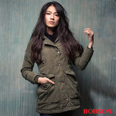BOBSON 女款軍風鋪棉長版外套 (35105-41)