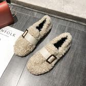 毛毛鞋 豆豆鞋女冬外穿2019新款加絨百搭豆豆鞋子平底棉鞋一腳蹬女鞋【快速出貨】