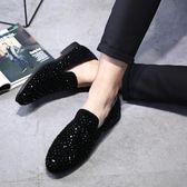 豆豆鞋男鞋水鉆2019新款秋冬社會潮流韓版真皮一腳蹬懶人樂福鞋 潮流衣舍