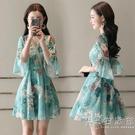 雪紡洋裝2020新款韓版收腰印花V領碎花洋裝喇叭袖中長款夏季 小時光生活館