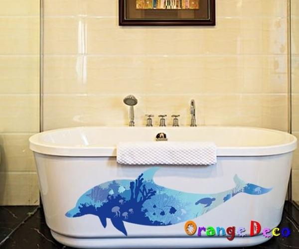 壁貼【橘果設計】北歐剪影海豚 DIY組合壁貼 牆貼 壁紙 室內設計 裝潢 無痕壁貼 佈置