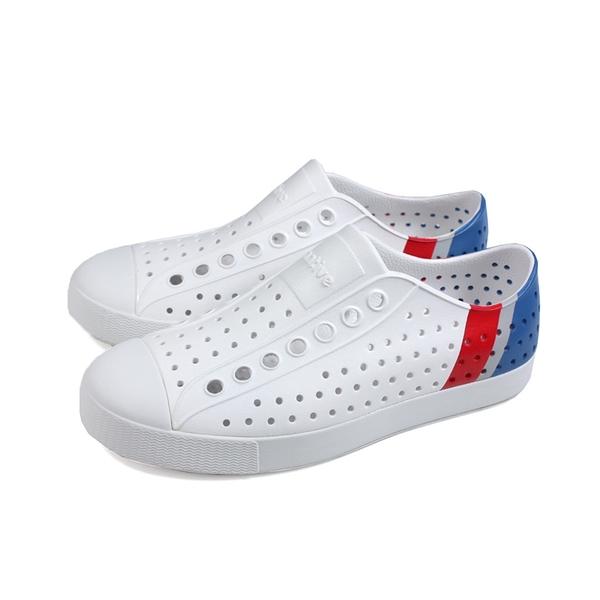 native JEFFERSON BLOCK 休閒鞋 洞洞鞋 白/藍紅 男女鞋 11100102-8908 no984