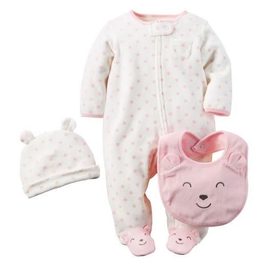 Carter's 套裝 連身衣  粉紅色圓點小熊系列長袖包屁衣3件套裝組 6M